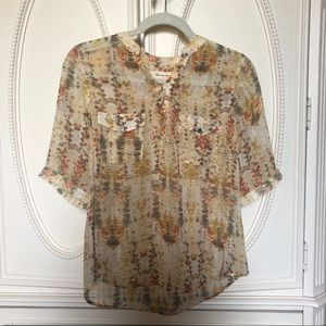 Vince Camuto sheer yellow patterned blouse